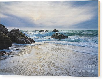 Setting Sun And Rising Tide Wood Print by CML Brown