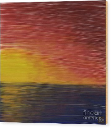 Setting Sun Wood Print by Andy Heavens