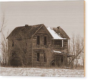 Settlers Dark Shadows House Sepia Wood Print by Michele Carter
