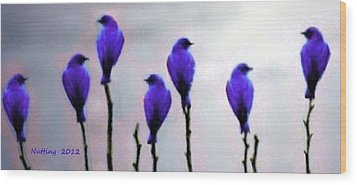 Seven Birds Of Purple Wood Print by Bruce Nutting