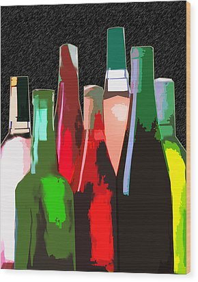 Seven Bottles Of Wine On The Wall Wood Print by Elaine Plesser