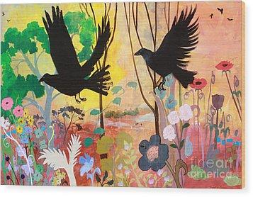 Seven Circling Crows Wood Print by Robin Maria Pedrero