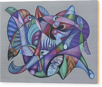 Seven Creatures For Seven Seas Wood Print by Lonnie C Tapia