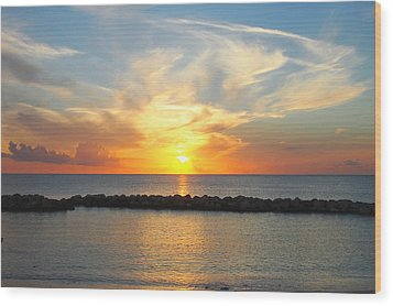 Seven Mile Sunset Over Grand Cayman Wood Print by Amy McDaniel