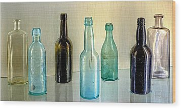 Seven Old Bottles Wood Print