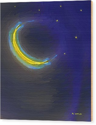 Seven Stars And The Moon Wood Print by RC deWinter
