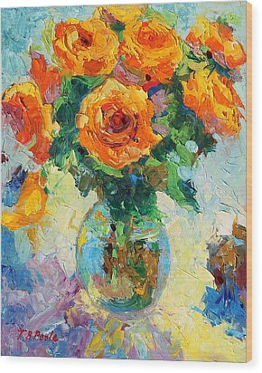 Seven Yellow Roses In Glass Vase Oil Painting Wood Print