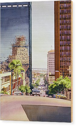 Seventh Avenue In San Diego Wood Print by Mary Helmreich