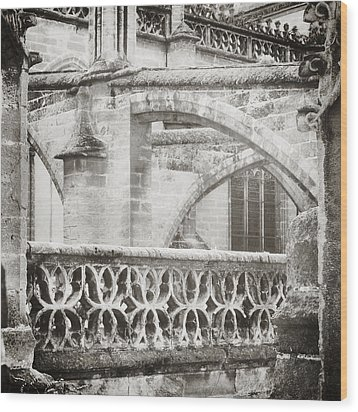 Seville Cathedral Buttresses Black And White Wood Print by Angela Bonilla