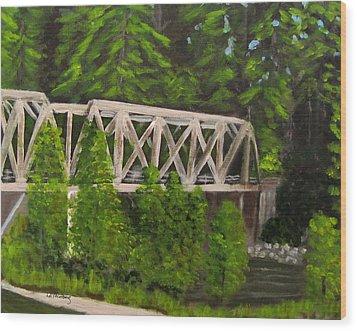 Sewalls Falls Bridge Wood Print