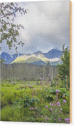 Seward Alpenglow Wood Print by Saya Studios