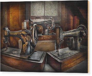 Sewing - A Chorus Of Three Wood Print by Mike Savad