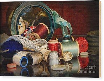 Sewing - Grandma's Mason Jar Wood Print by Paul Ward