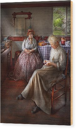 Sewing - I Can Watch Her Sew For Hours Wood Print by Mike Savad