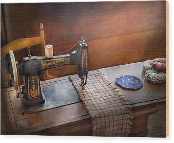 Sewing - It's Just Black And White  Wood Print by Mike Savad
