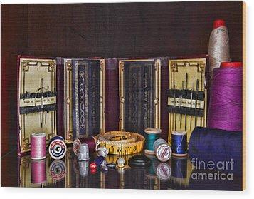 Sewing Kit Wood Print by Paul Ward
