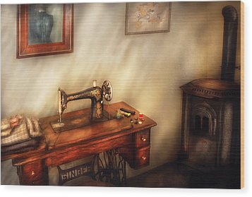 Sewing Machine - Sewing In A Cozy Room  Wood Print by Mike Savad