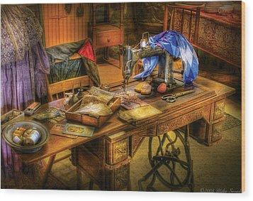 Sewing Machine  - Sewing Machine Iv Wood Print by Mike Savad