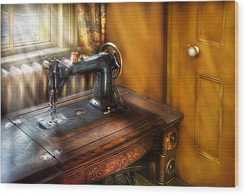 Sewing Machine  - The Sewing Machine  Wood Print by Mike Savad