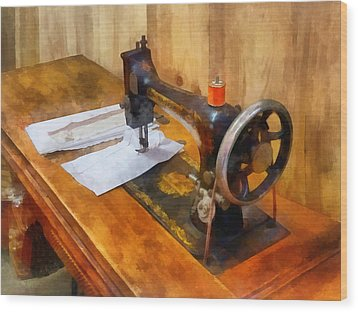 Sewing Machine With Orange Thread Wood Print by Susan Savad