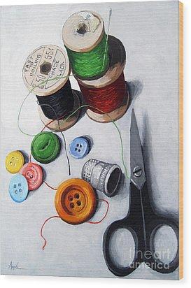 Sewing Memories Wood Print by Linda Apple