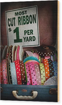 Sewing - Ribbon By The Yard Wood Print by Mike Savad