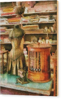 Sewing - Supplies For The Seamstress Wood Print by Mike Savad