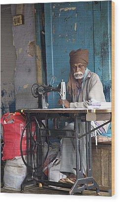 Sewn Before Blue  Wood Print