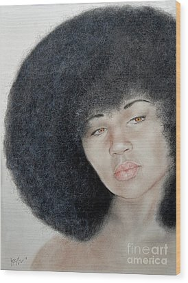Sexy Aevin Dugas Holder Of The Guinness Book Of World Records For The Largest Afro Wood Print by Jim Fitzpatrick