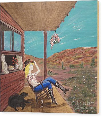 Sexy Cowgirl Sitting On A Chair At High Noon Wood Print by John Lyes