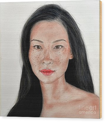 Sexy Freckle Faced Beauty Lucy Liu Wood Print by Jim Fitzpatrick