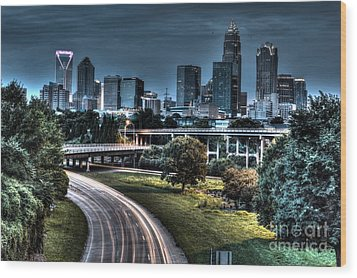 Sexy Skyline Of Charlotte  Wood Print