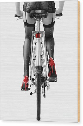 Sexy Woman In Red High Heel Shoes And Stockings Riding Bicycle Wood Print by Oleksiy Maksymenko