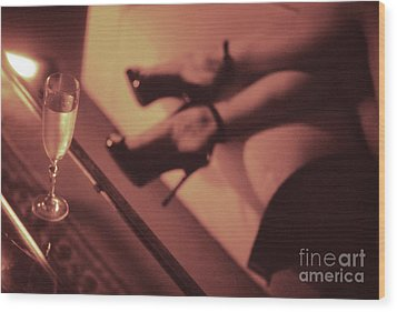 Sexy Young Lady In Stiletto High Heel Shoes And Glass Of Champagne Wood Print by Edward Olive
