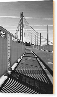 Sf Bay Bridge Pedestrian Path In Bw Wood Print