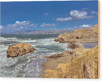 Sf Beach In Hdr Wood Print by Matthew Bamberg