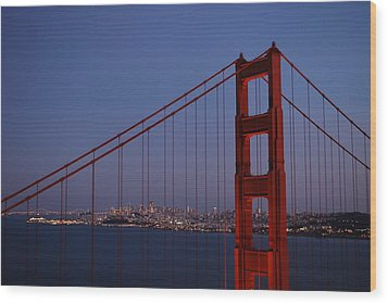 Sf Through The Bridge Wood Print