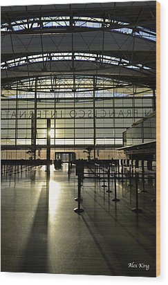 Wood Print featuring the photograph Sfo International Terminal From The Inside by Alex King