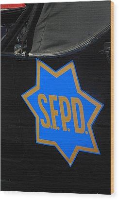 Sfpd Emblem Wood Print by T C Brown