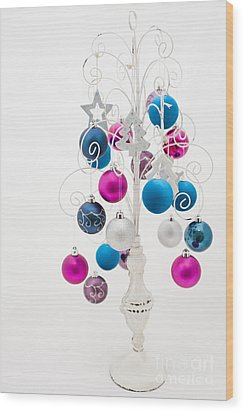 Shabby Chic Christmas Wood Print by Anne Gilbert