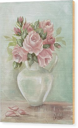 Shabby Chic Pink Roses Painting On Aqua Background Wood Print