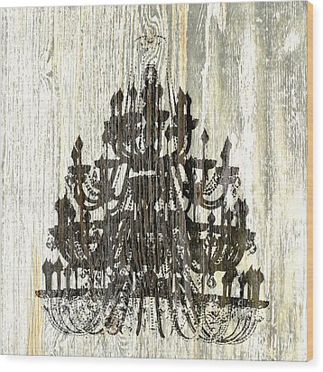 Shabby Chic Rustic Black Chandelier On White Washed Wood Wood Print