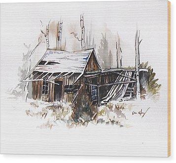 Shack Wood Print by Aaron Spong