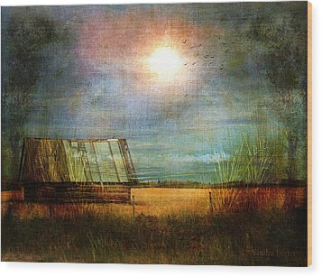 Wood Print featuring the photograph Shack On The Prairie Corner  by Sandra Foster