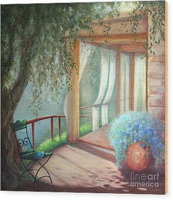 Shade Of The Olive Tree Wood Print