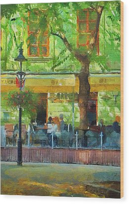 Shaded Cafe Wood Print by Jeff Kolker