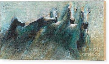 Shades Of Blue Wood Print by Frances Marino