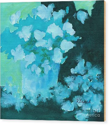 Shades Of Green And Light Wood Print by Kathy Braud