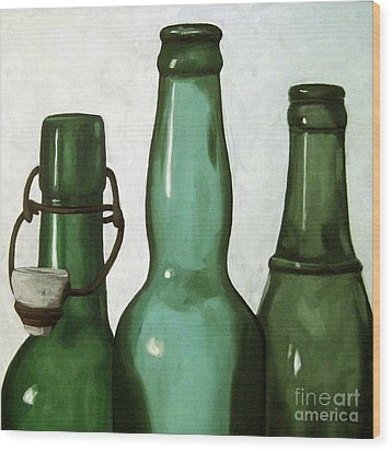 Shades Of Green - Bottles Wood Print by Linda Apple