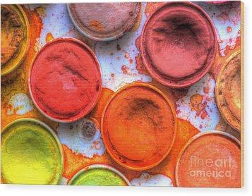 Shades Of Orange Watercolor Wood Print by Heidi Smith